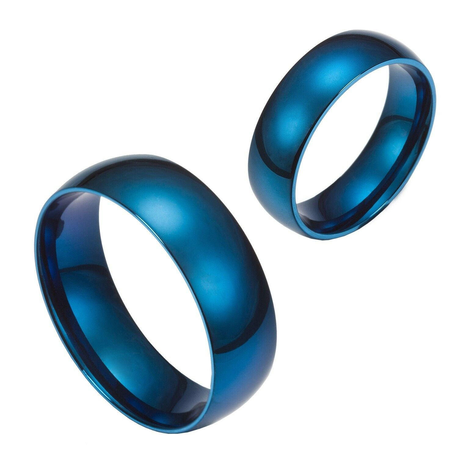 Wedding Band Stainless Steel 8mm: 6mm 8mm Blue Stainless Steel Comfort Fit Wedding Band Ring