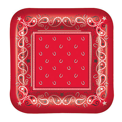 Bandana Plates (8 ct RED BANDANA West Western Cowboy   9