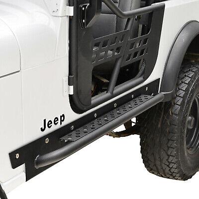 Fits 76-86 Jeep Wrangler CJ7 Running Boards Rock Slider Side Step Black Textured Jeep Cj7 Rock Sliders