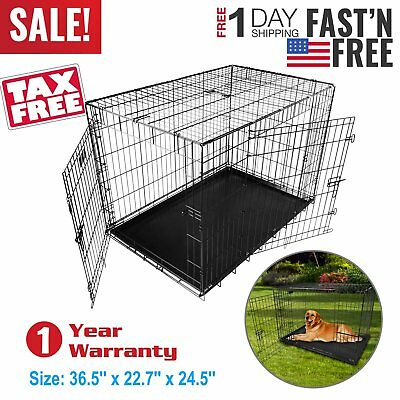Pet Cage Dog Cat Puppy Training Folding Metal Crate Animal Transport 36 Inch