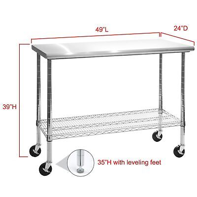 """Rolling Stainless Steel Top Kitchen Work Table Cart & Casters Shelving 24"""" x 49"""" for sale  USA"""