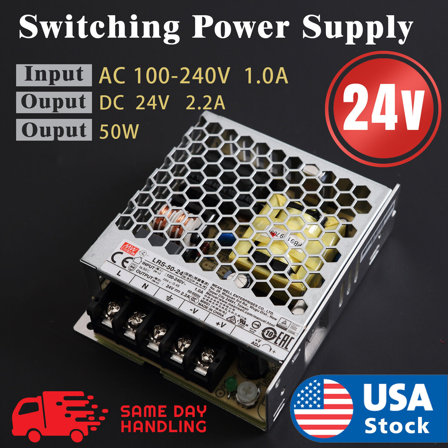 Mean Well LRS  50w 24V 2.2A Switching Power Supply LRS50-24 Business & Industrial