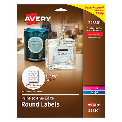 Avery Round True Print Labels 2 12 Dia White 90pack 22830