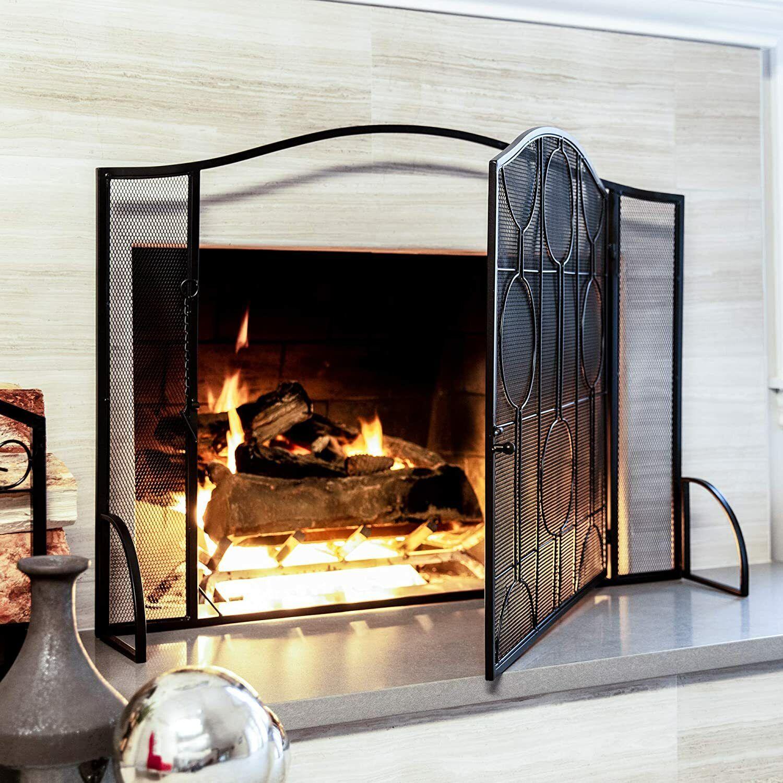 Single Door Fireplace Screen Steel Mesh Safety Spark Guard L
