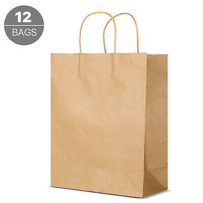 Kraft Paper Gift Bags Bulk with Handles, Shopping Bag 12Pcs Pack 10x4.7x12.4 in