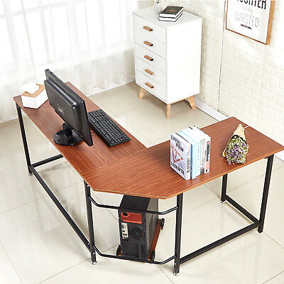 Office Desk L-shape Corner Computer Latop Table Workstation Home Officewalnut