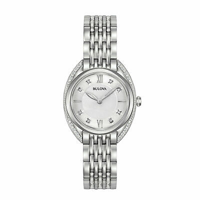 Bulova Women's Quartz Diamond Accent Markers Silver-Tone 30mm Watch 96R212