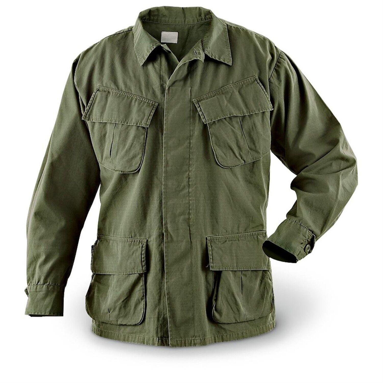 ficial U S Military Issue Vietnam Era OD Slant Jungle BDU Fatigue Shirt OG107