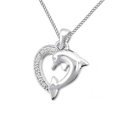 Kristall Delphin Herz KETTE mit ANHÄNGER 925 Sterling Silber Geschenkidee *207*