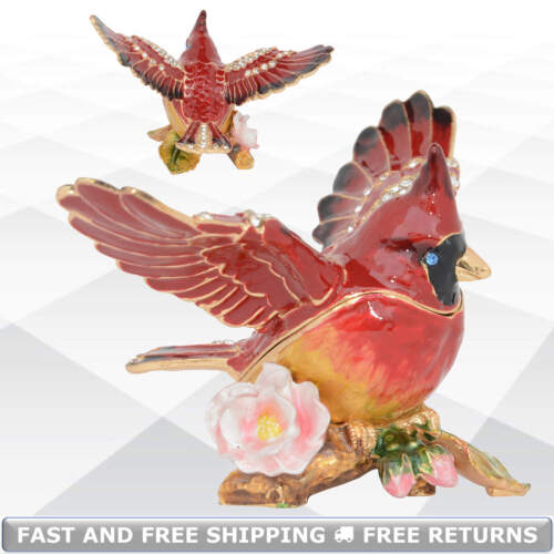 Cardinal Bird Enamel Hinged Jewelry Ring Trinket Box With Lid Bejeweled Crystals
