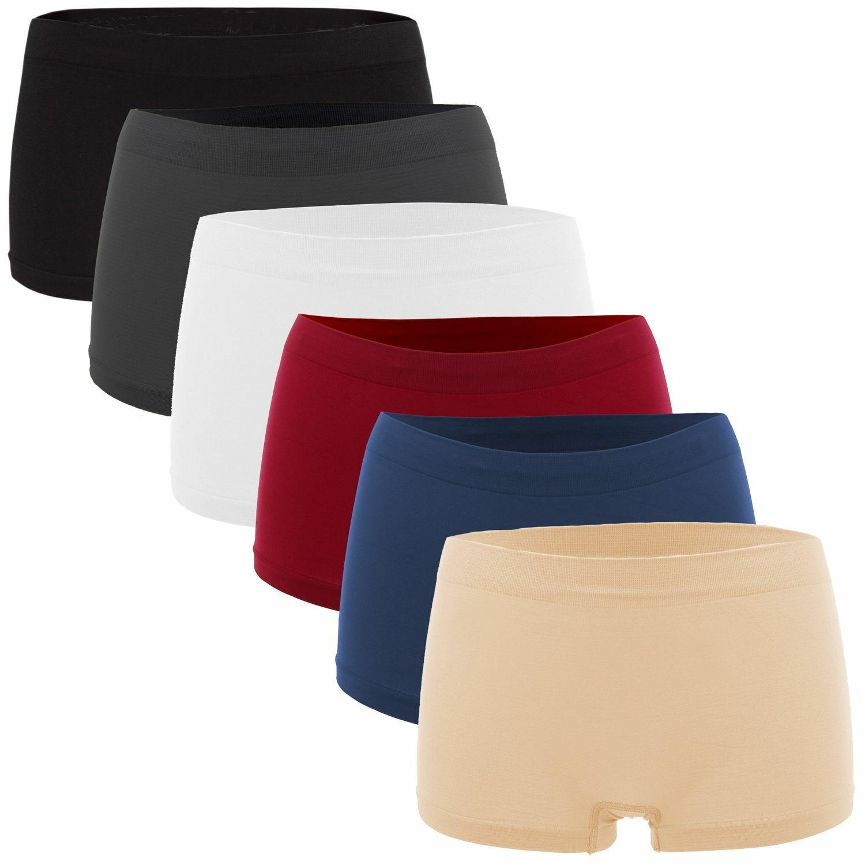 Fabio Farini 6er-Pack Damen Seamless Panties Hipsters Boxershorts aus Microfaser