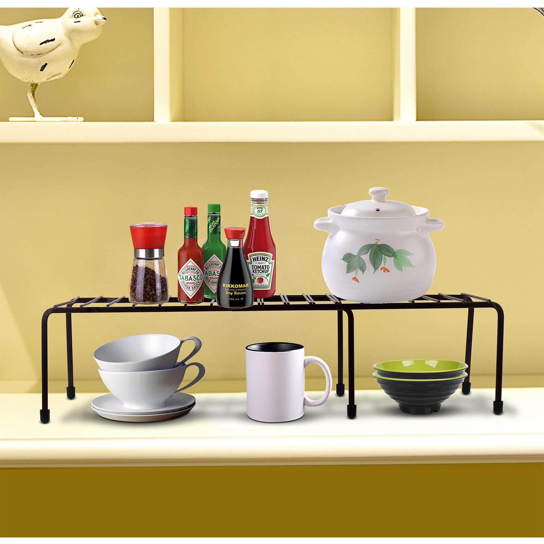 Expandable Kitchen Counter Cabinet Shelf Organizer Rack Storage Countertop Bowls