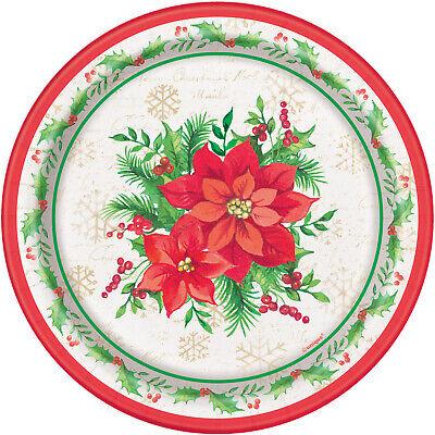 8 Rojo Ponsetia Tradicional de Navidad Flor Platos de Papel 18cm Postre...