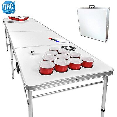 Beer Pong Table Set With Holes Tailgate 8-Foot Flip Cup Pool Game Portable Erase Beer Pong Flip Cup