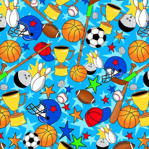 Fabric Sports Balls Equipment Things COMFY on Blue Flannel by the 1/4 Yard