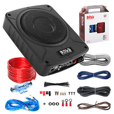 "BOSS Audio BAB8K 8"" 800 Watt Amplified Car Subwoofer, 8 Gauge Wiring Kit"