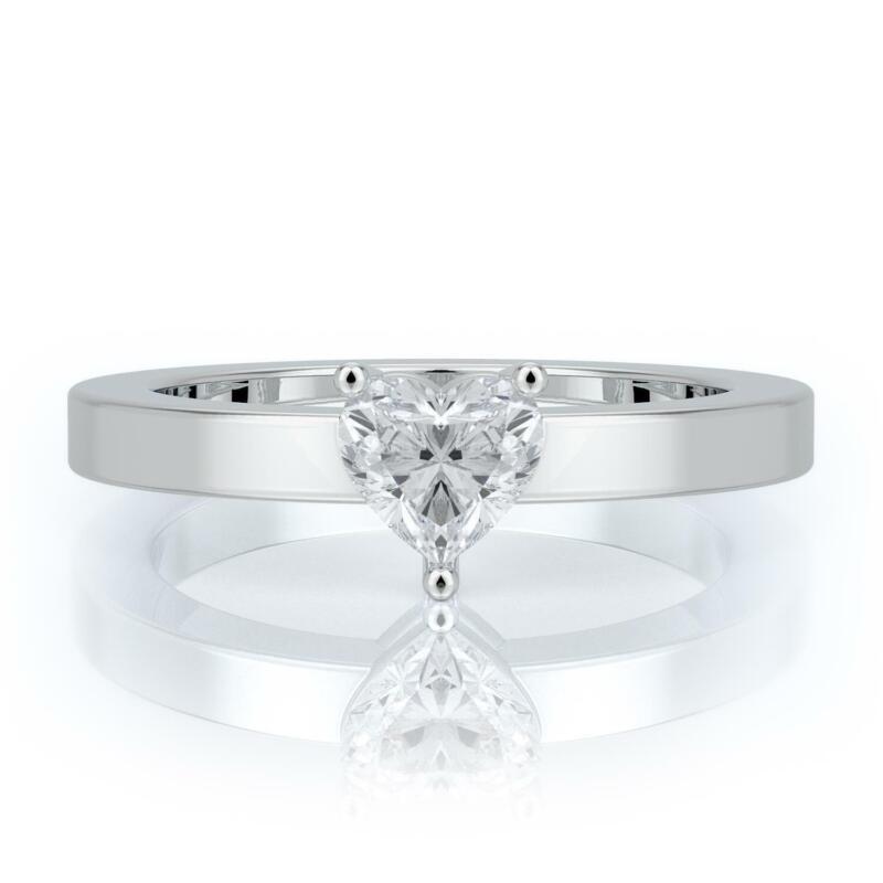 1/2 Ct Heart Shape Real Diamond Engagement Ring 14k White Gold Certified E Vs2