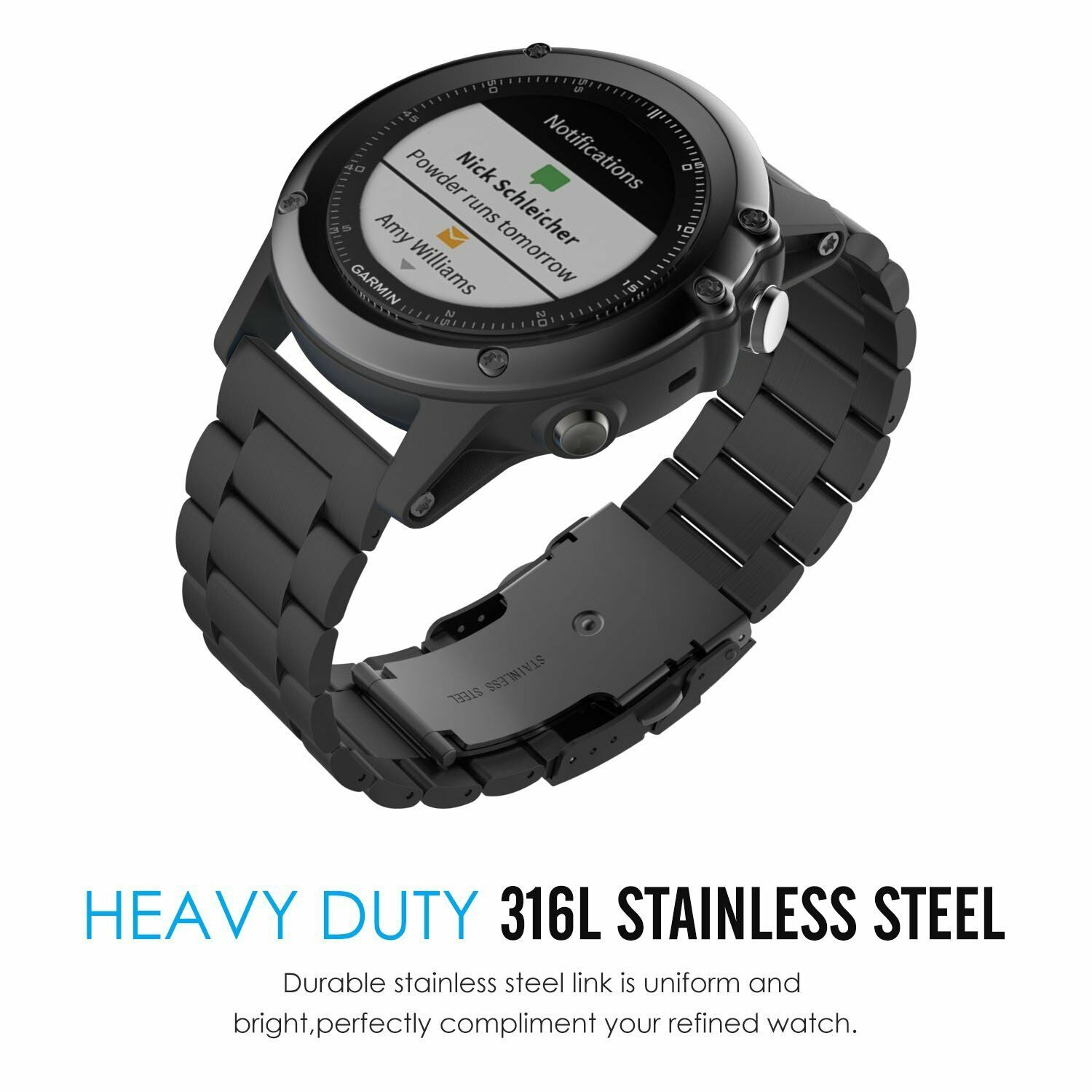 Stainless Steel Watch Wrist Band Strap Garmin Fenix 3 / Feni