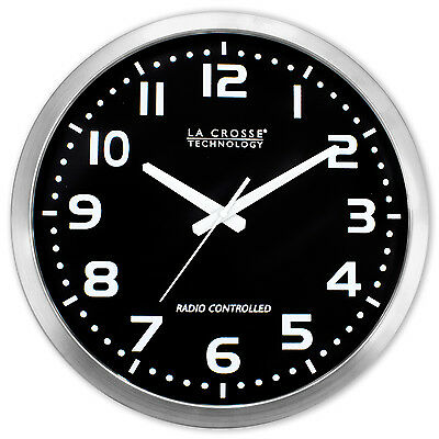 "WT-3161BK La Crosse Technology 16"" Atomic Analog Wall Clock - Black Refurbished for sale  La Crosse"
