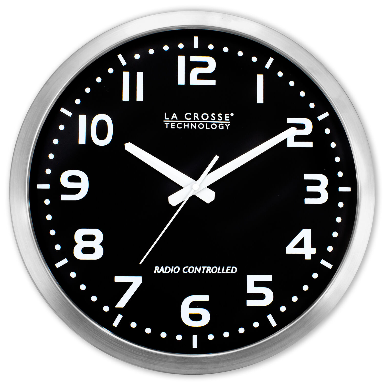 La Crosse Technology 16 Inch Stainless Steel Atomic Clock, B