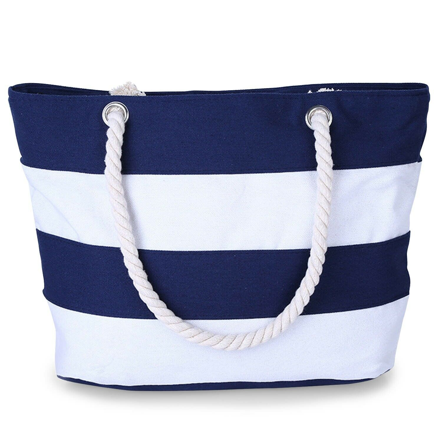 CoreLife Large Canvas Beach Tote Bag with Inner Zipper Pocke