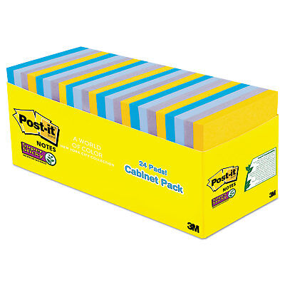 Post-it Pads in New York Colors Notes 3 x 3 70-Sheet 24/Pack