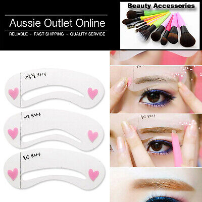 3 Styles Quality Eyebrow Stencil Shape Template Kit - Make Up Kit Online