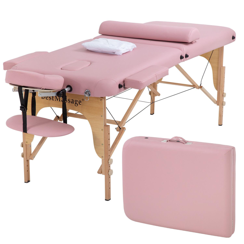 Portable Massage Table 2 Folding 73″ Height Adjustable Half Bolsters Sheets Health & Beauty