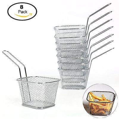 8Pcs Mini Wire French Fry Chips Baskets Net Strainer Kitchen Restaurant -
