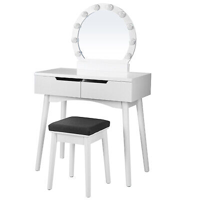 Vanity Set, Dressing Table Set with Mirror and Light Bulbs for Makeup RDT011W03