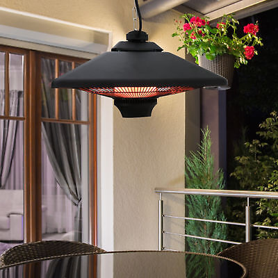 1500w Outdoor Hanging Ceiling Electric Halogen Patio Heater Remote Control w/LED
