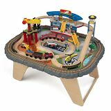KidKraft Kids 58 Piece Transportation Station Wood Train Play Set Activity Table