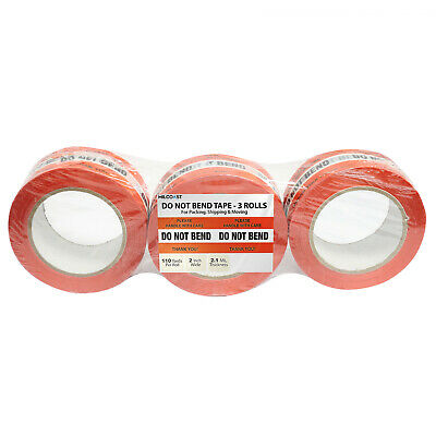 Milcoast Do Not Bend Warning Packing Shipping Tape - 3 Rolls 110 Yards Per Roll