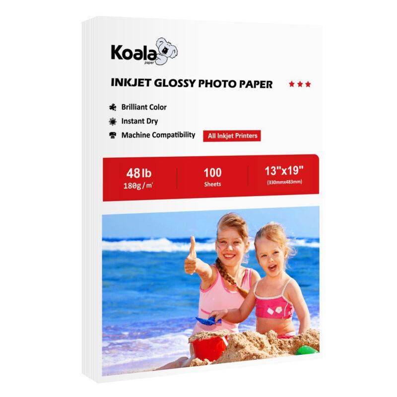 Koala 13x19 Premium 48lbs Glossy 100 Sheets Inkjet Printer Photo Paper Canon HP