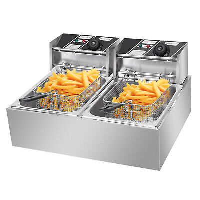 5000w Electric Deep Fryer Dual Tank Commercial Restaurant 12l Frying Cooking