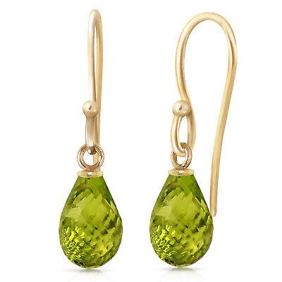 2.7 Carat 14K Solid Gold Fish Hook Earrings Peridot ()