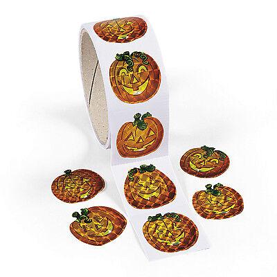 100 BRIGHT PUMPKIN PRISM STICKERS Halloween JACK O LANTERN loot (Bright Pumpkin)