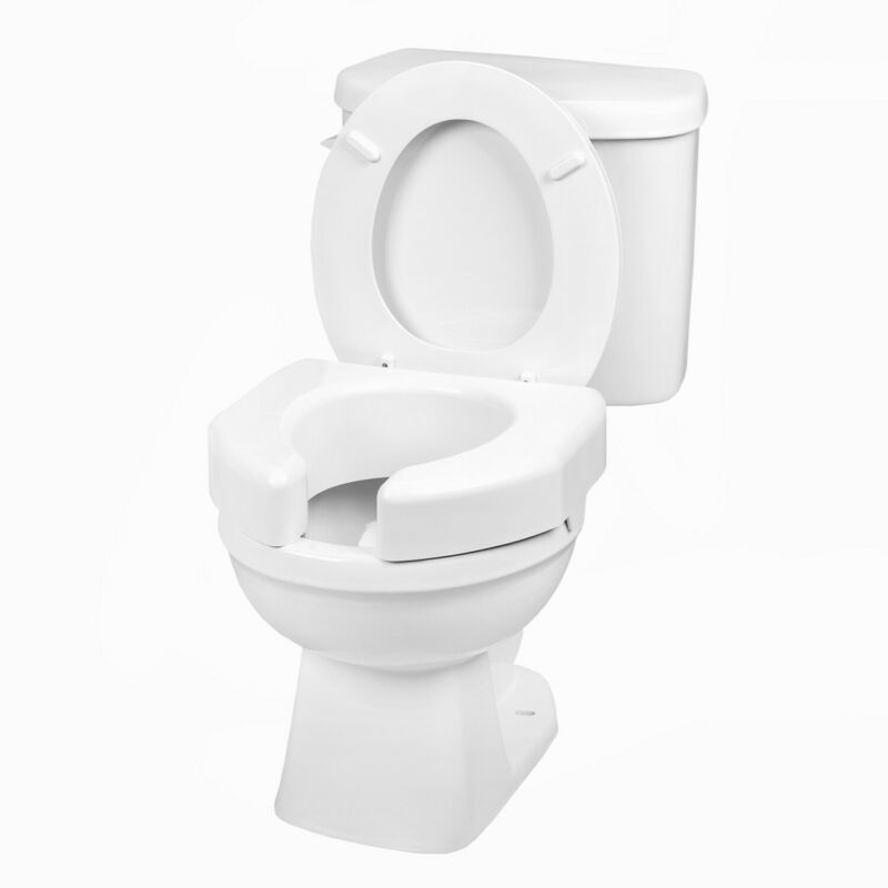 """Open Front Raised Toilet Seat - 3"""" Booster Seat, Fits Round & Elongated Bowls"""