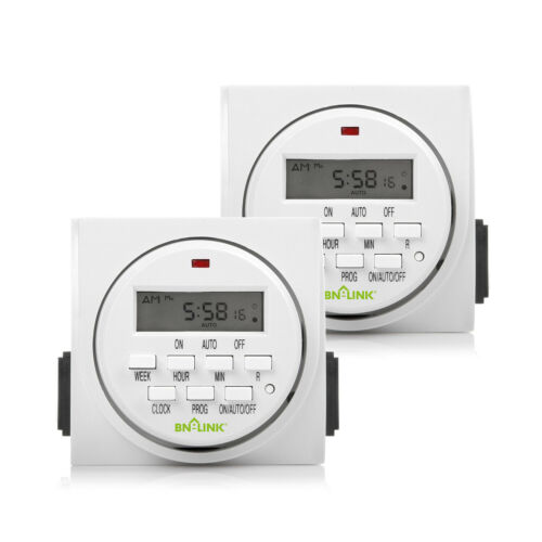 BN-LINK 7 Day Heavy Duty Digital Programmable Timer Switch - Dual Outlet 2 Pack
