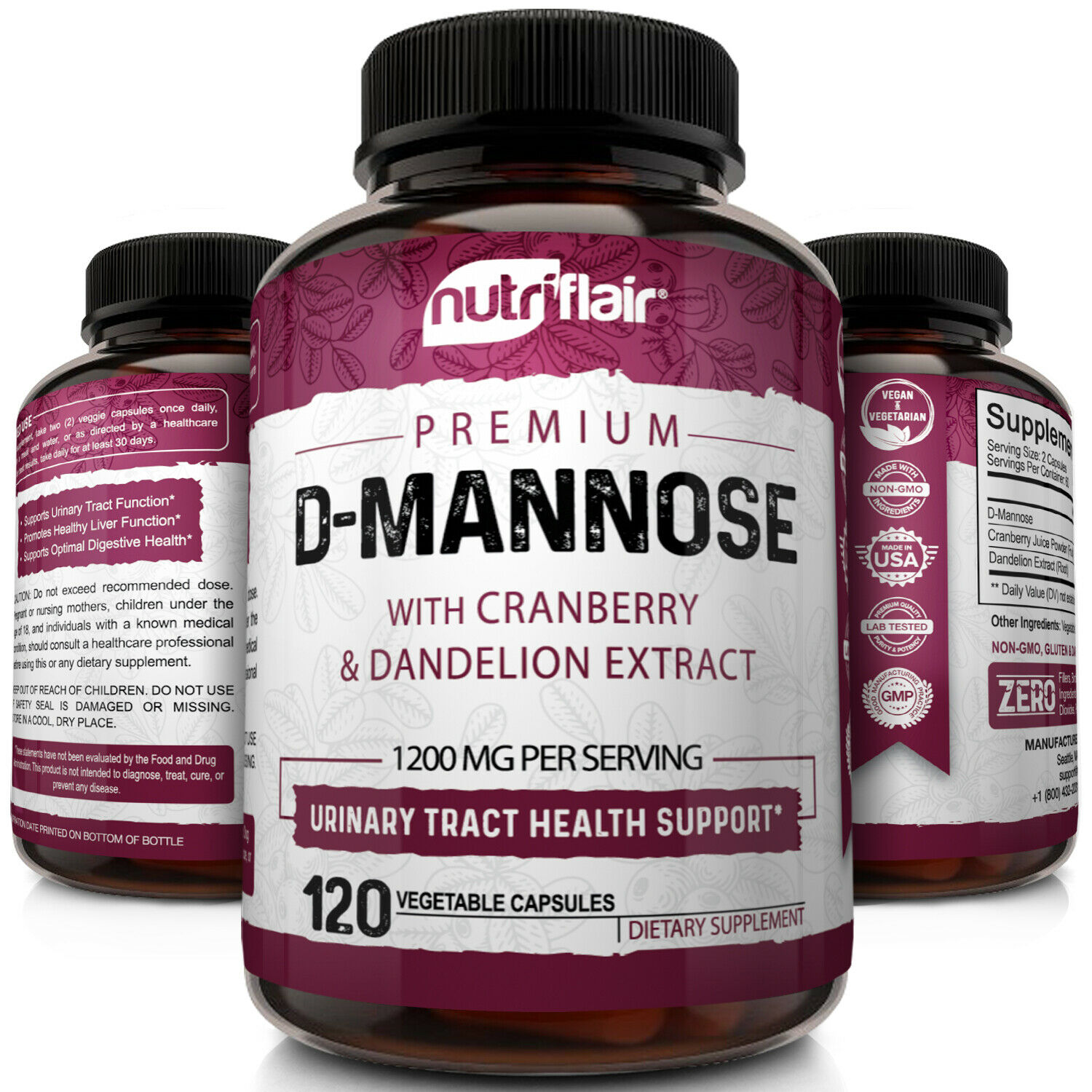 D-Mannose 1200mg, 120 Capsules with Cranberry & Dandelion Extract - UTI Support