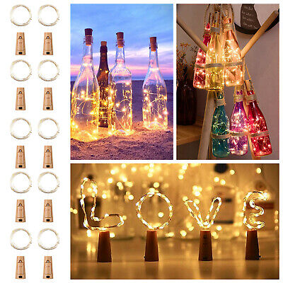20 LED Wine Bottle Light Cork Shaped String Fairy Wire Night Light Warm White US White Wine Bottle