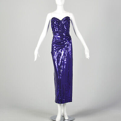 80s Dresses | Casual to Party Dresses 1980s Lillie Rubin Sexy Purple Sequin Mermaid Dress Strapless Sweetheart VTG $198.90 AT vintagedancer.com