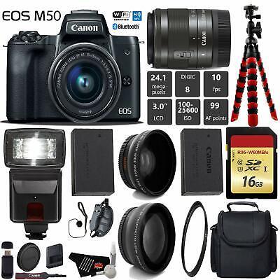 Canon EOS M50 Mirrorless Digital Camera +15-45mm Lens+ UV FLD CPL Filter Kit + W