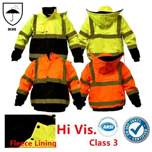 Hi Vis Waterproof Class 3 Insulated Reflective Bomber Jacket Coat Fleece Lining