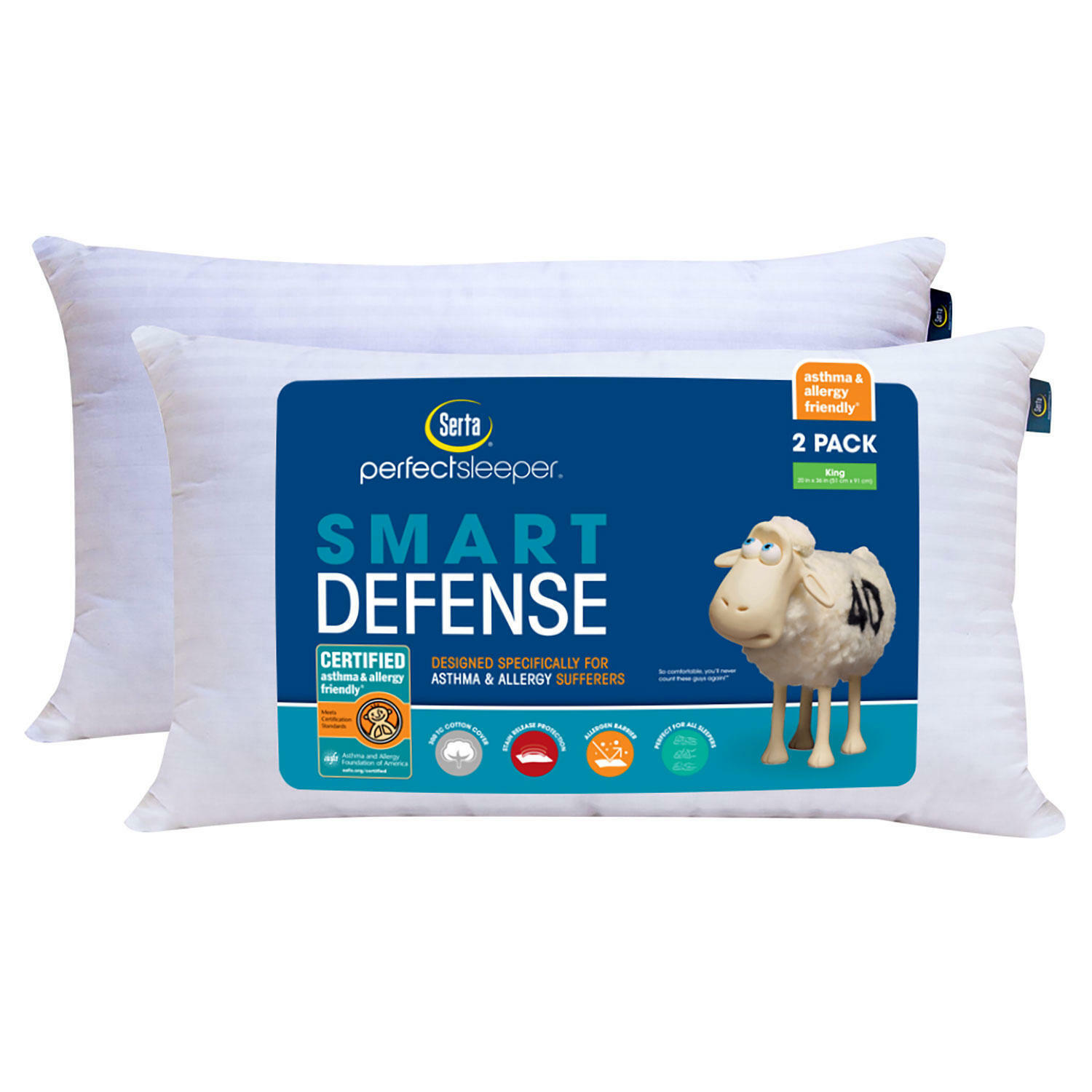 Serta Perfect Sleeper Bed Pillow 2 Pack– King Size Fast Sh