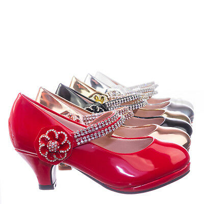 Dana18K Children Girl High Heel Dress Pump w Rhinestone Crystal Rose Mary Jane](High Heel Shoes Kids)