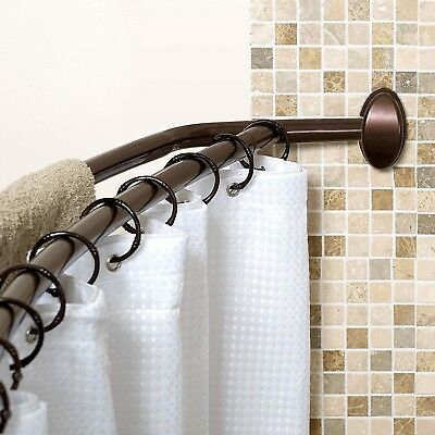 Double Curtain Rod Curved Shower Oil Rubbed Bronze Rustproof Aluminum Mount NEW