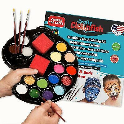 Halloween Face Paint Set ($25 Face Painting Kit 16 colors Brushes Sponges Paint Set Pallet Safe Halloween)