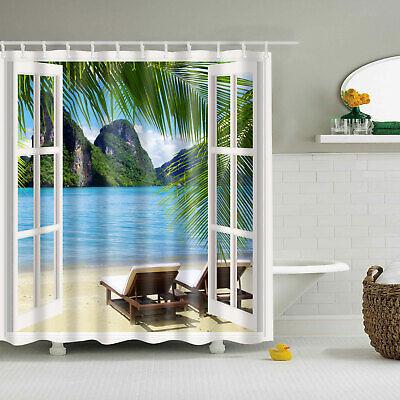 Tropical Scenery Shower Curtain 3D Window Beach Themed Palm Tree Bathroom Decor