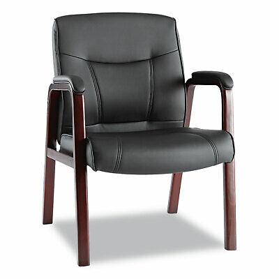 Alera Madaris Series Leather Guest Chair Wwood Trim Four Legs Blackmahogany